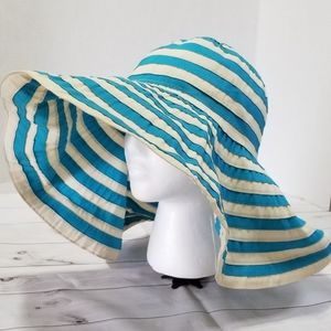 Calvin Klein Cream & Blue Floppy Wide Brim Sunhat